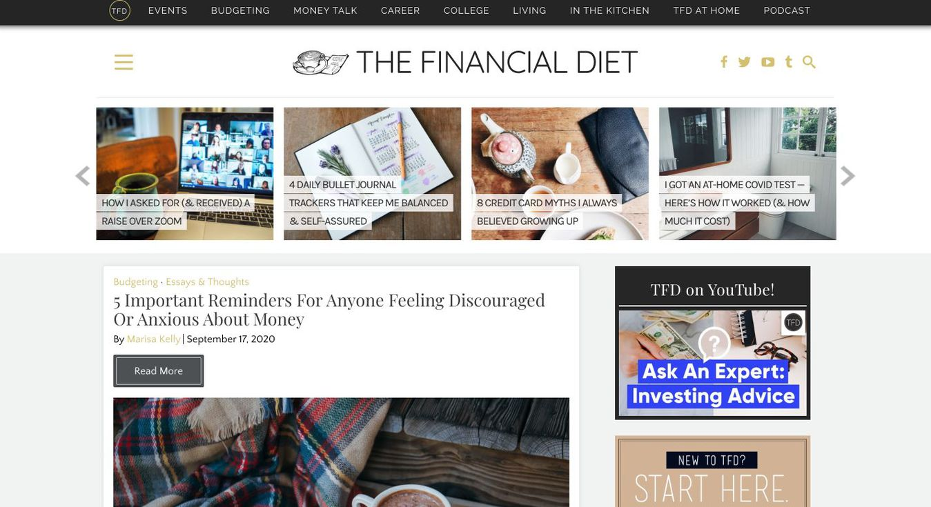 Landind page del blog The Financial Diet
