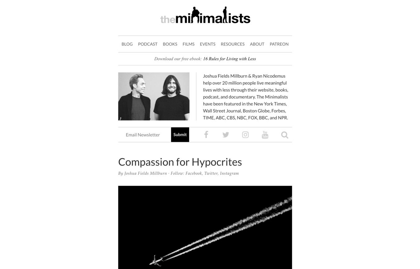 The Minimalists homepage