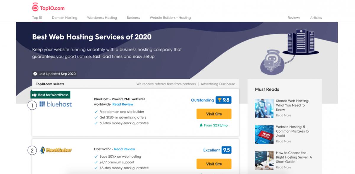 Screenshot de um site de afiliados