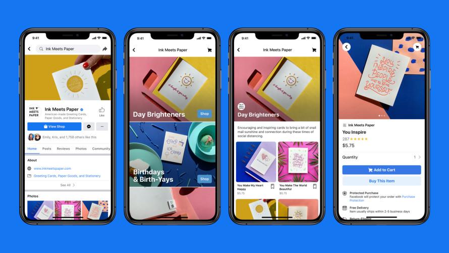 vier schermen met functies van Facebook Shops
