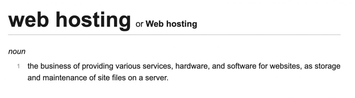 Web hosting dictionary definition
