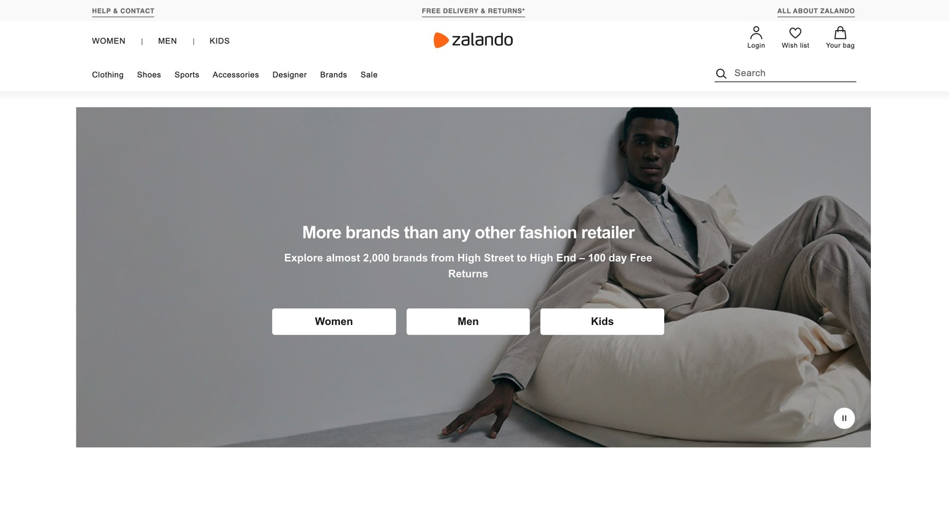 Screenshot van de website van Zalando startpagina