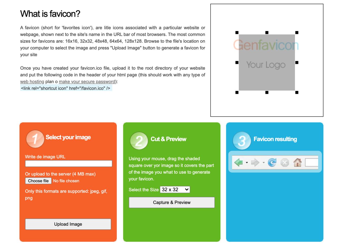 Favicon generator Genfavicon