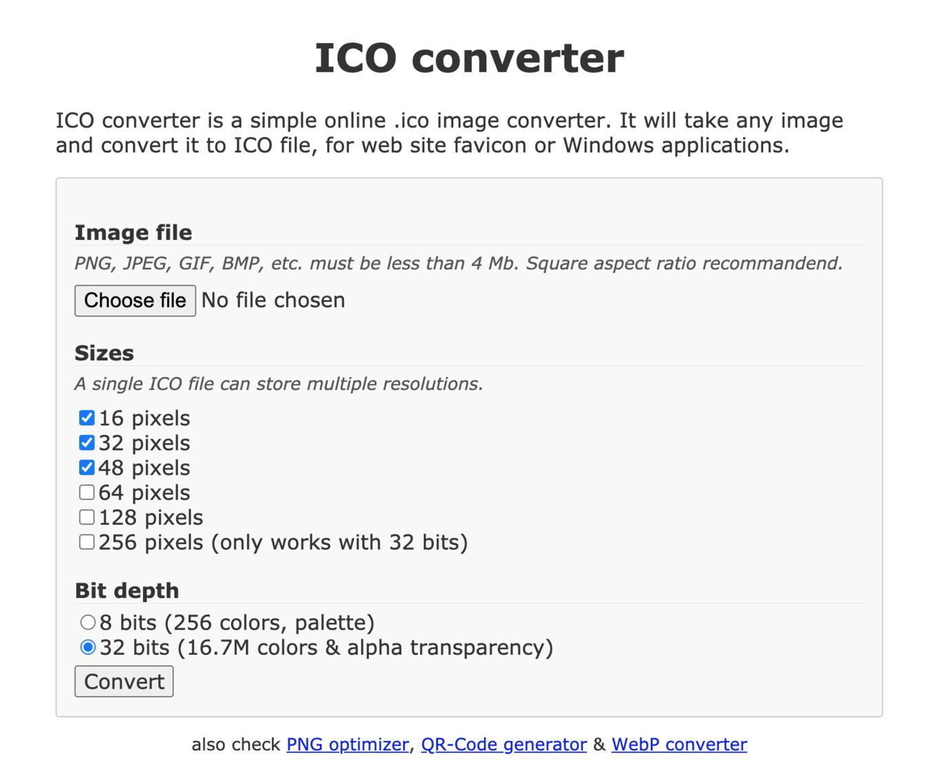 Gerador de Favicon ICO Converter