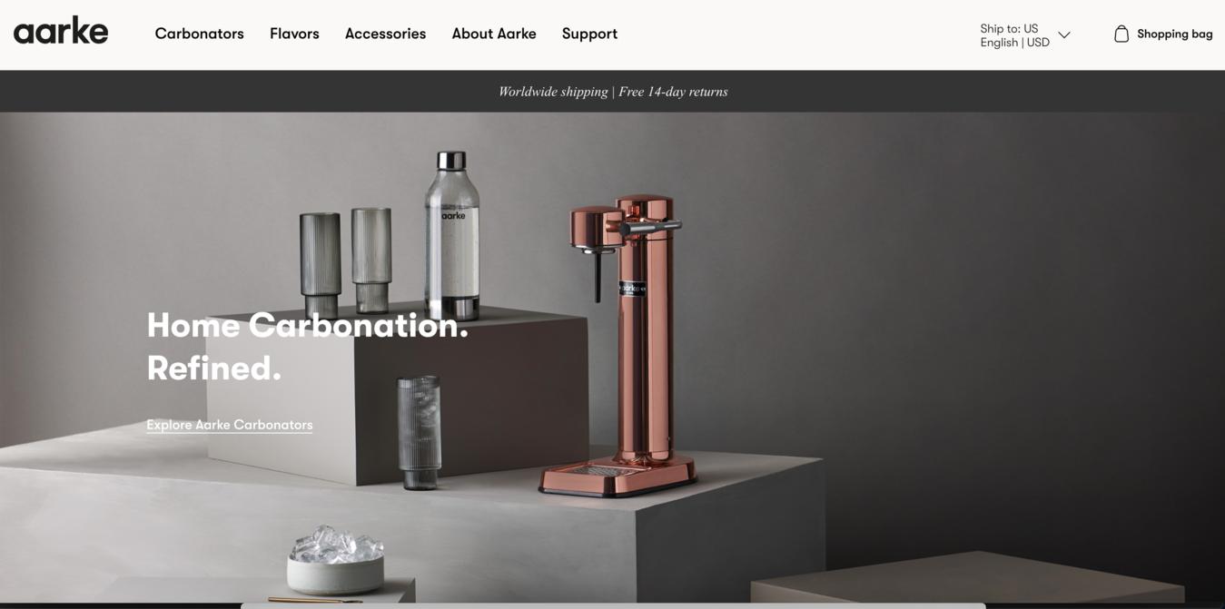Aarke Website Startpagina Screenshot