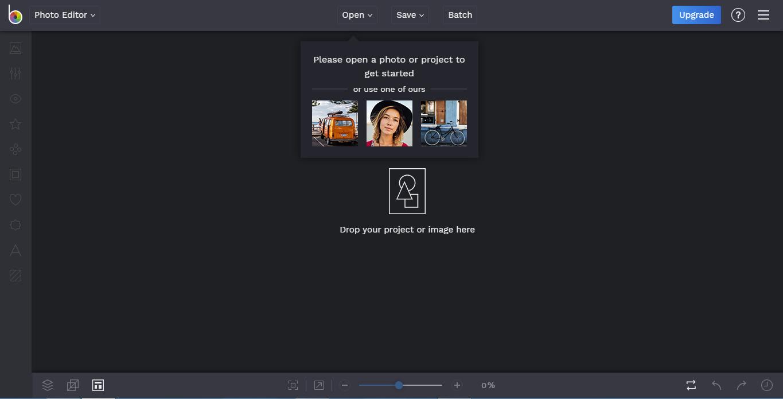 De interface van BeFunky foto editor