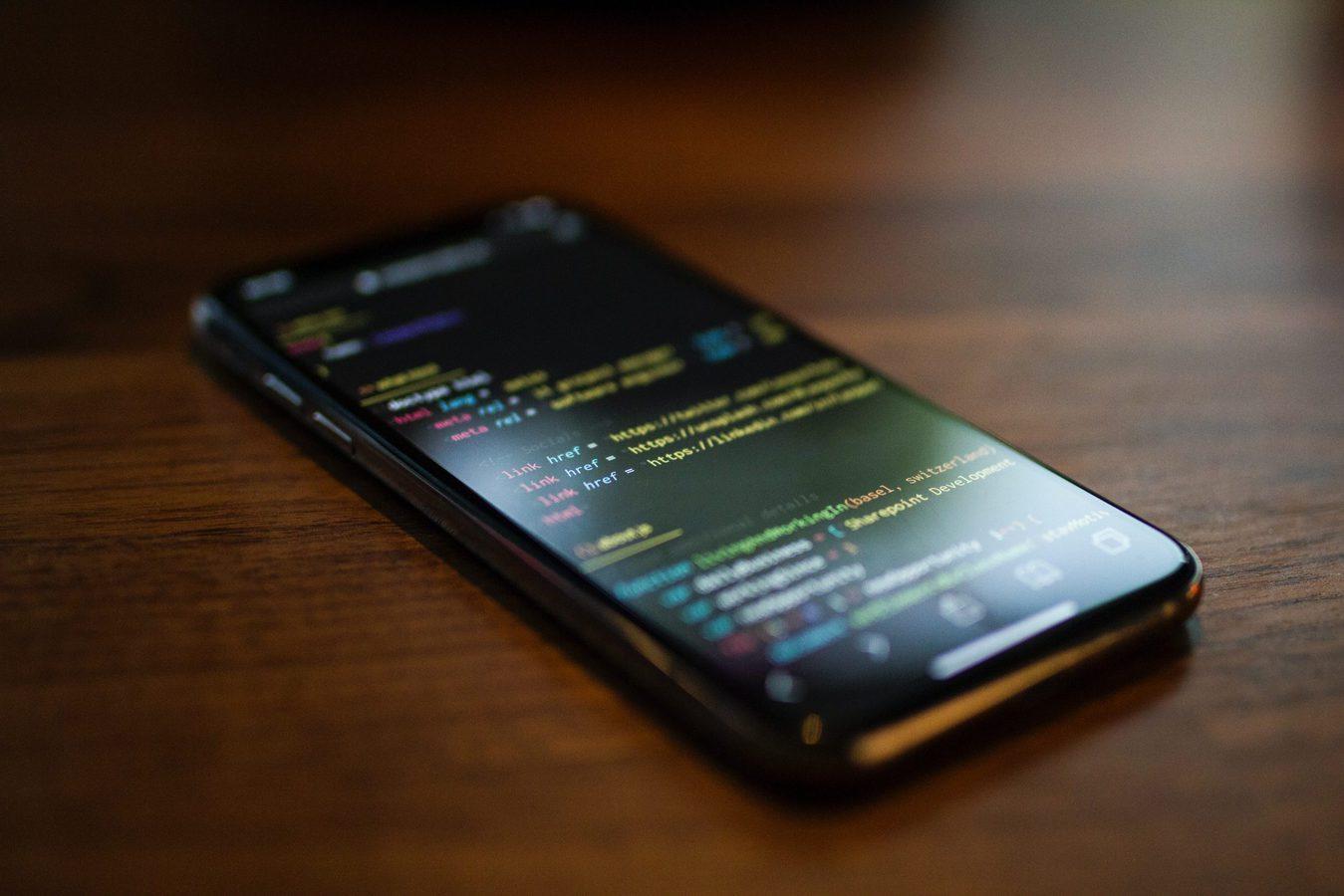 Linhas de código no telemóvel