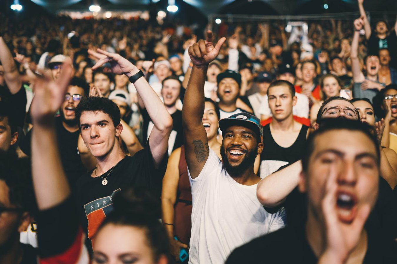 Crowd of cheering people at an event