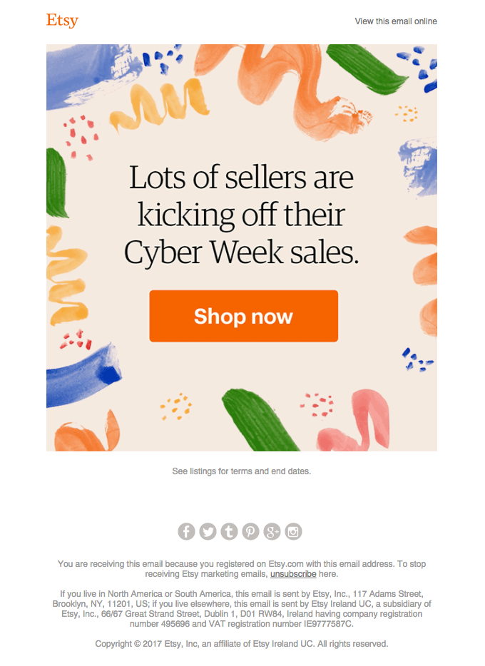 Etsy Cyber Monday Email