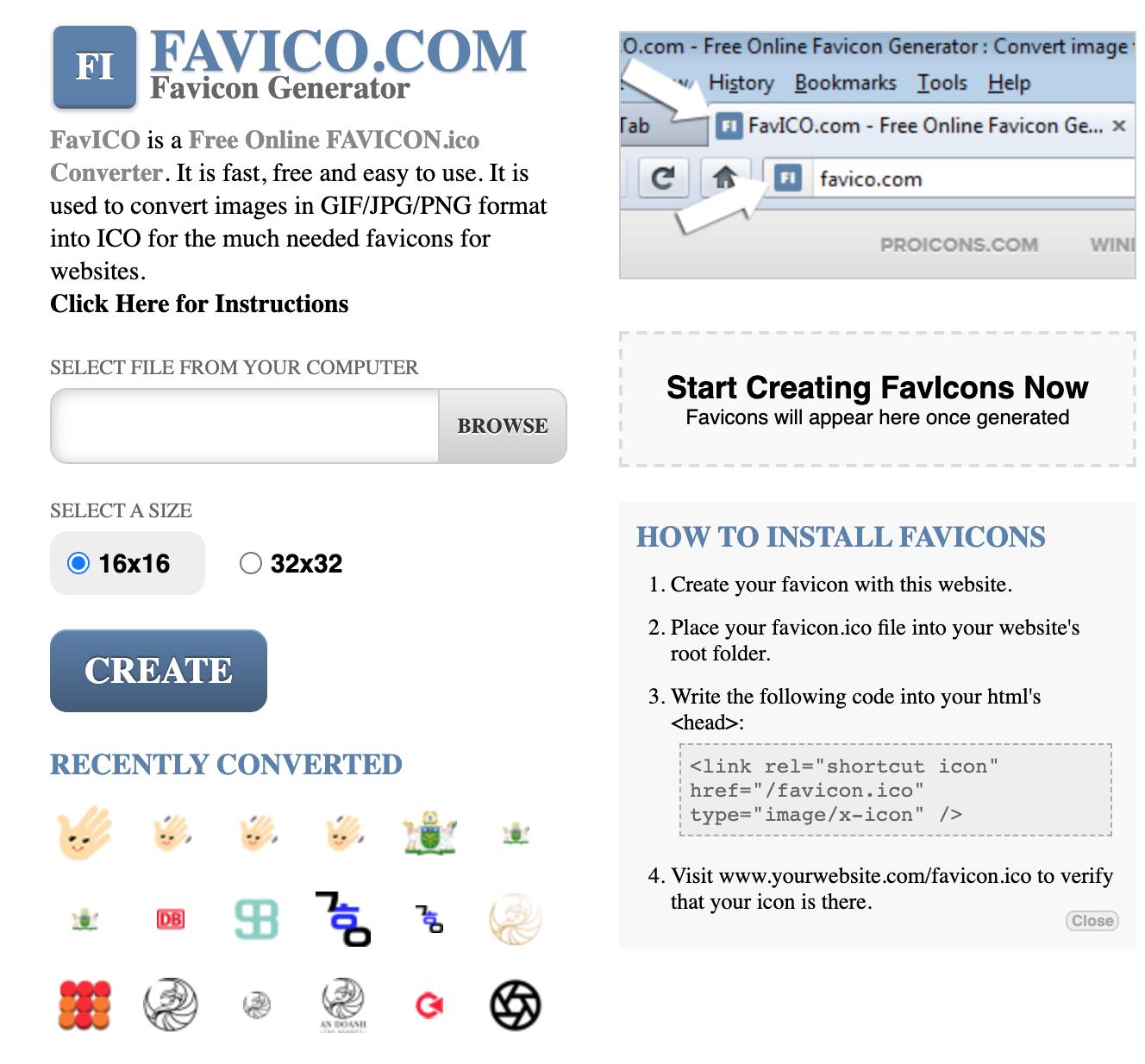 trình tạo favicon Favico