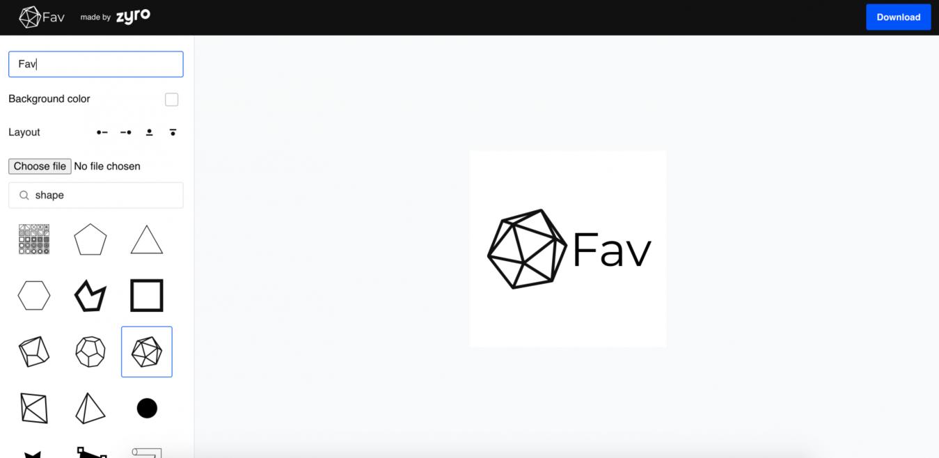 Generator Favicon zrzut ekranu strony Zyro
