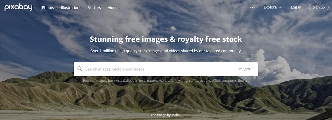 Halaman login situs gambar gratis Pixabay