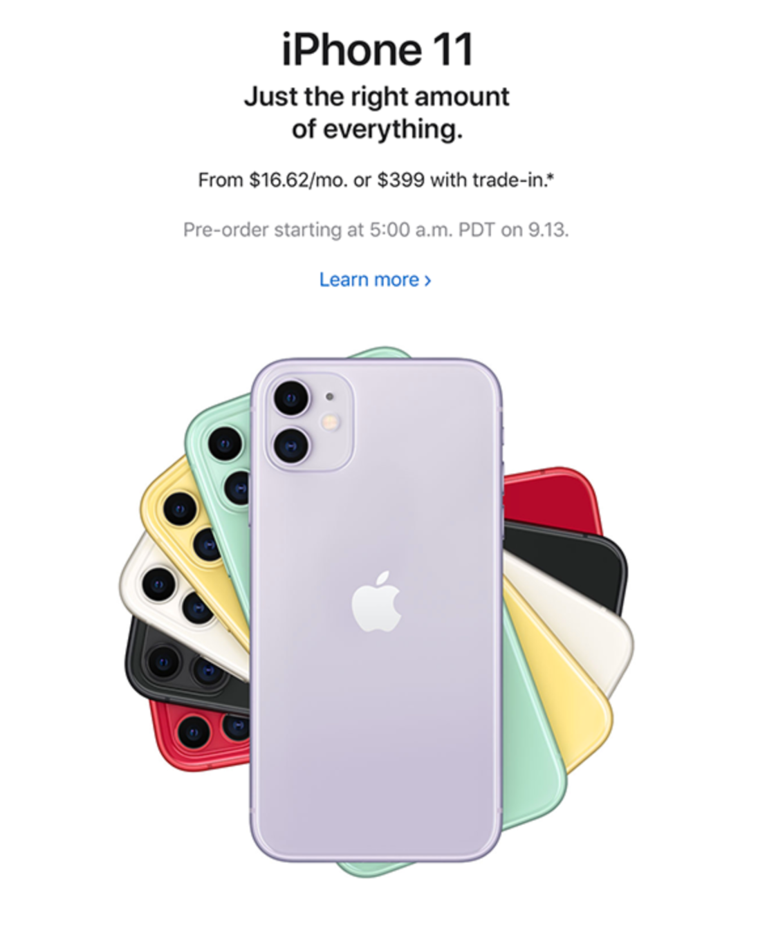 Apple newsletter for iPhone 11