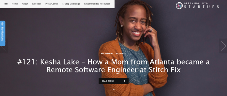 landing page do blog de marketing de conteúdo Breaking into Startups