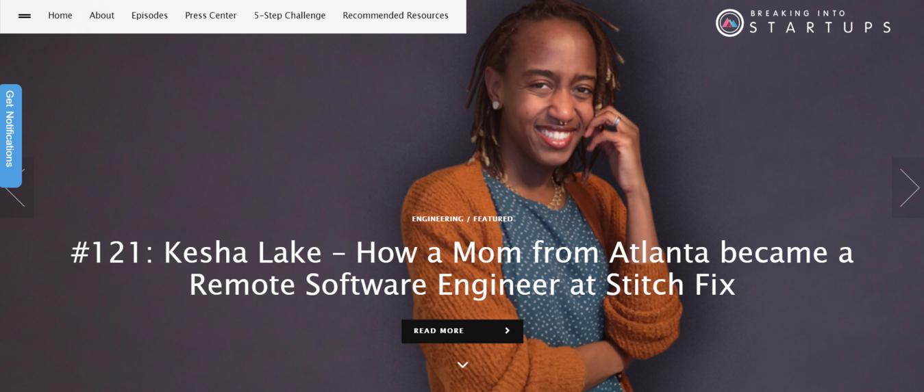 #121Articolo di Kesha Lake. esempio del blog Breaking Into Startups