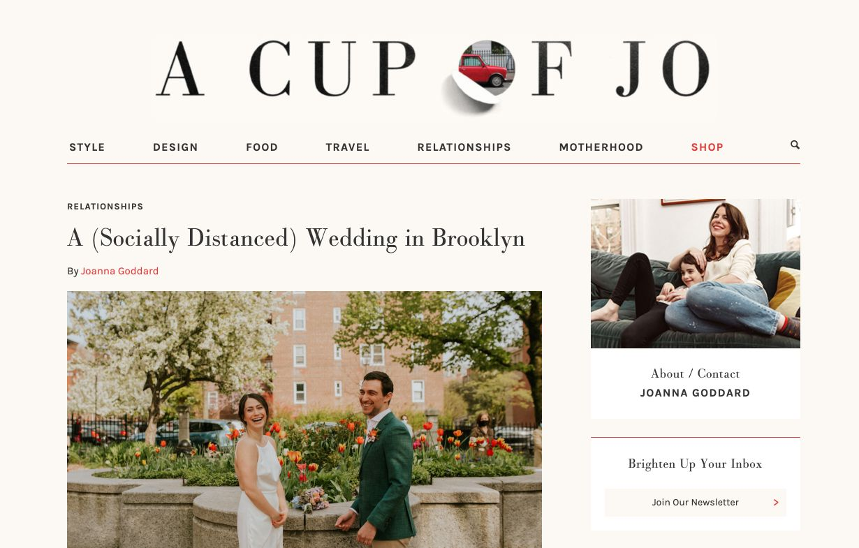 Landing page del blog A Cup of Jo