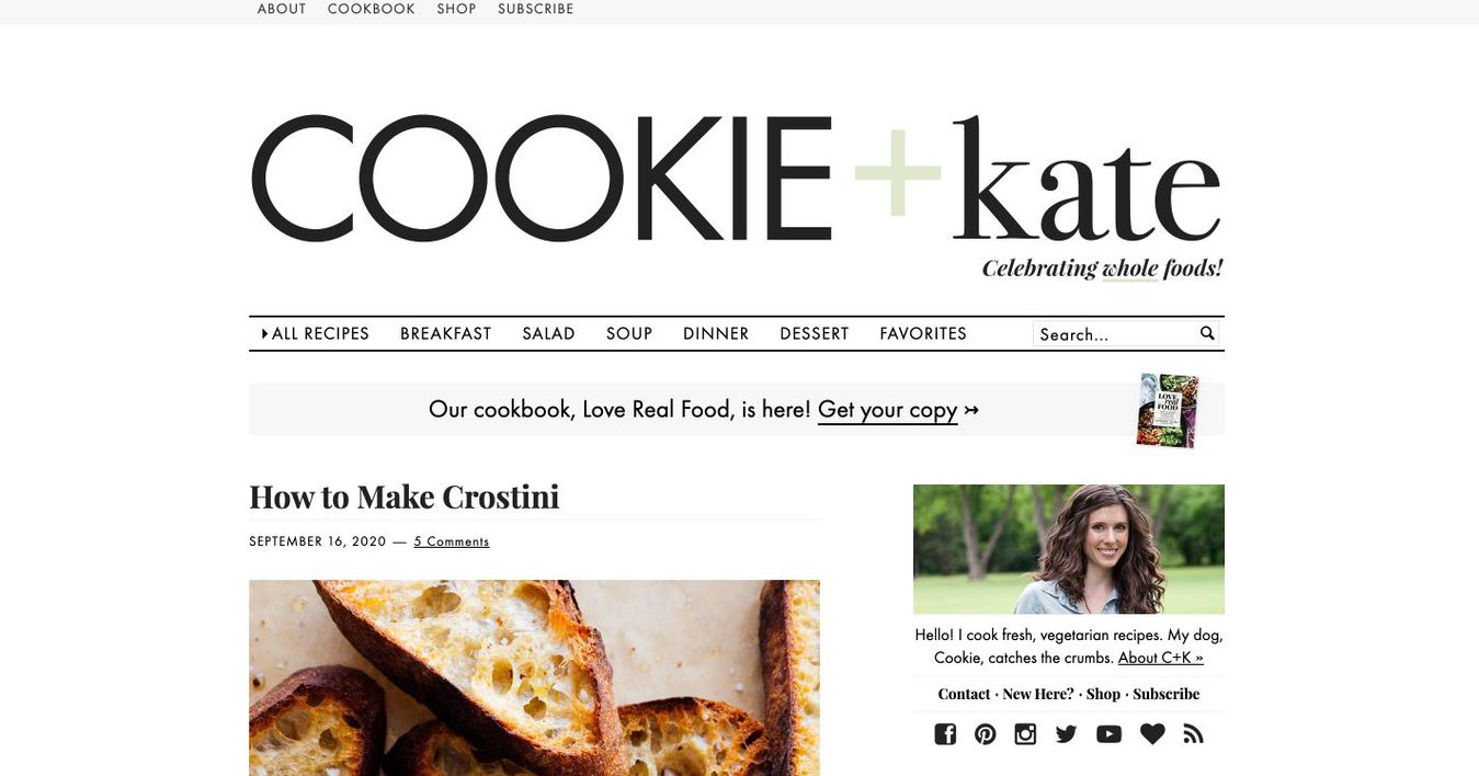 Landing page del blog Cookie and Kate