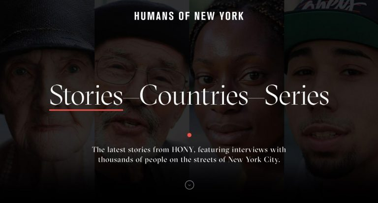 landing page do Humans of New York