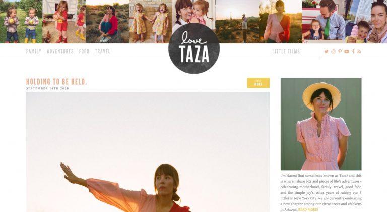 landing page do site da blogueira Love, Taza