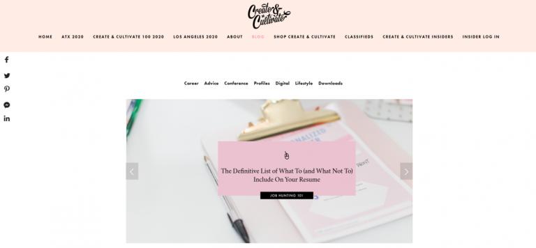 landing page do blog para mulheres empreendedoras Create Cultivate