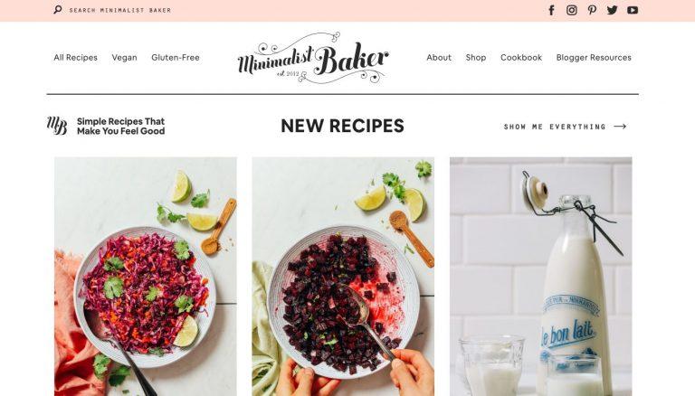 landing page do blog minimalista culinário Minimalist Baker