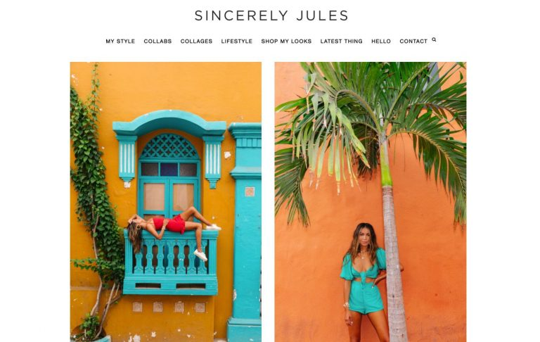 landing page do site de moda da Sincerely Jules