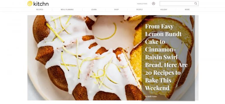 landing page do blog de culinária The Kitchn