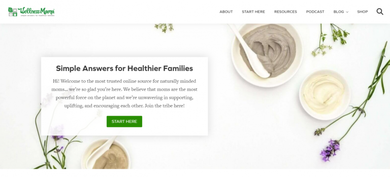 landing page do blog de beleza e estilo de vida Wellness Mama