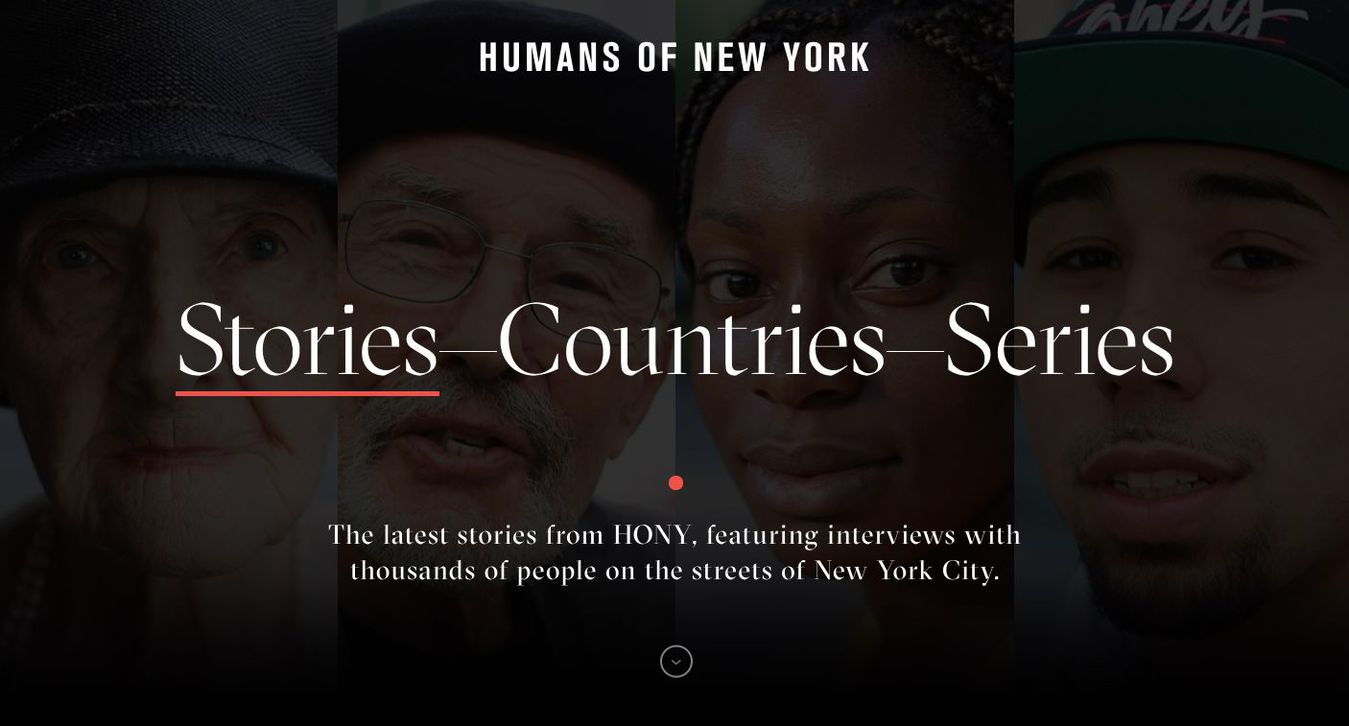 Landing page del blog Humans of New York