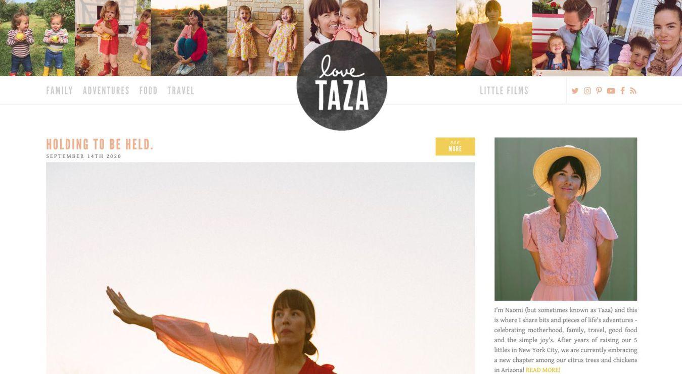 Landing page del blog Love Taza