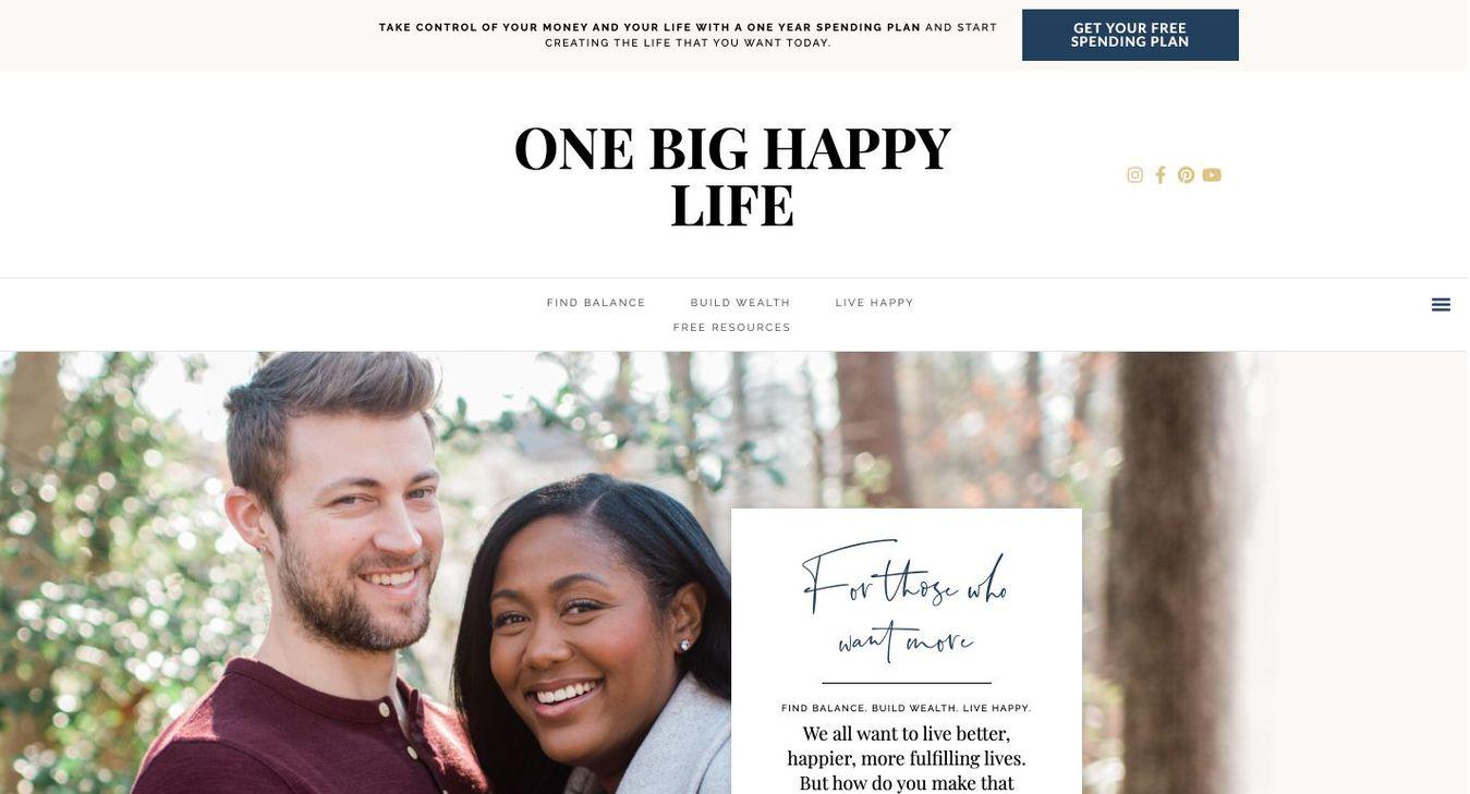 Landing page del blog One Big Happy Life