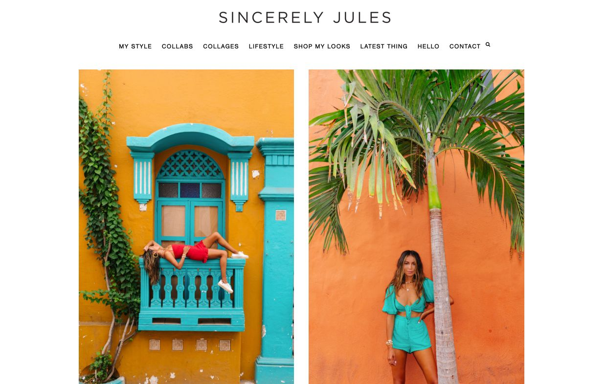 Landing page del blog Sincerely Jules