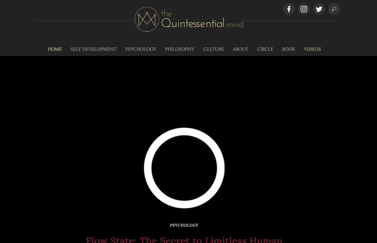 Landing page del blog The Quintessential Mind