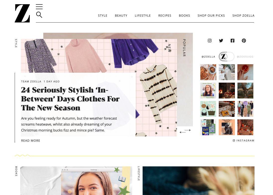 Landing page del blog Zoella