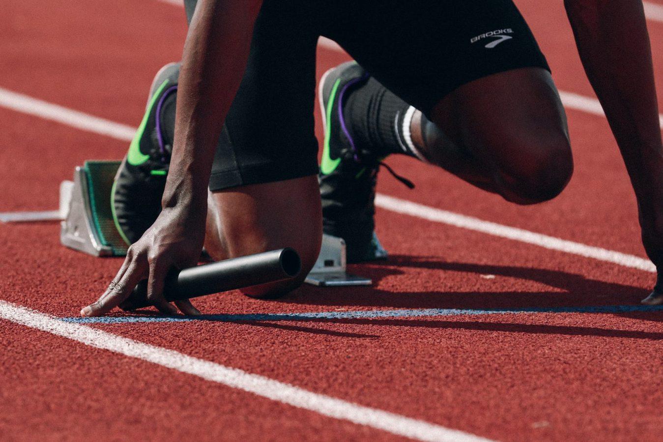 Man preparing for a run, sprint
