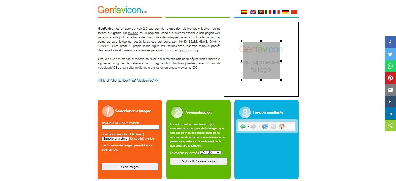 mejores generadores de favicon: genfavicon