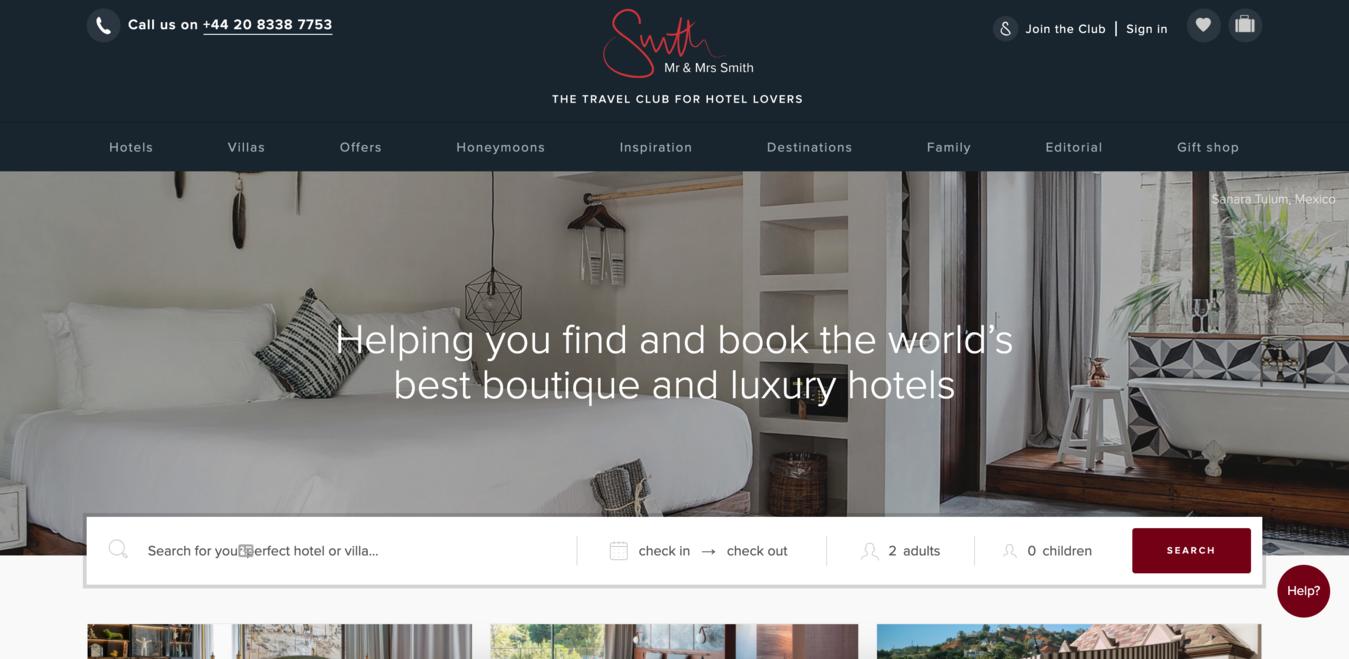 Mr&Mrs Smith Website Startpagina Screenshot