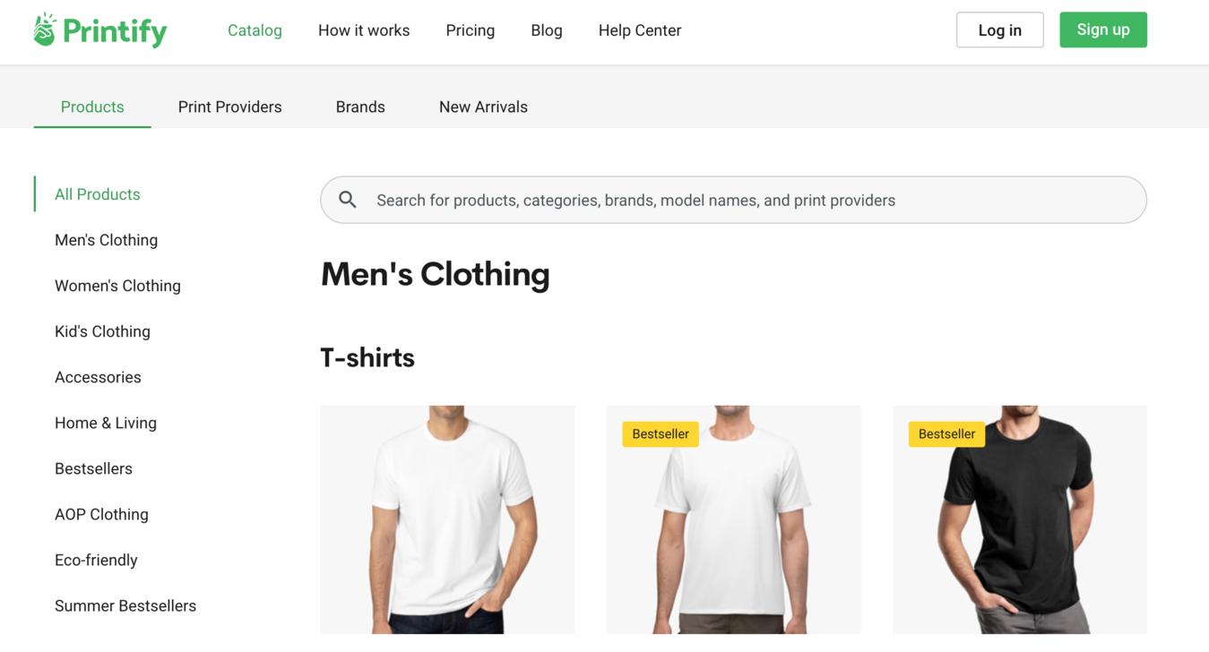 Printify producten pagina