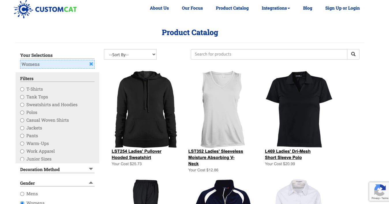 Página de produtos do CustomCat