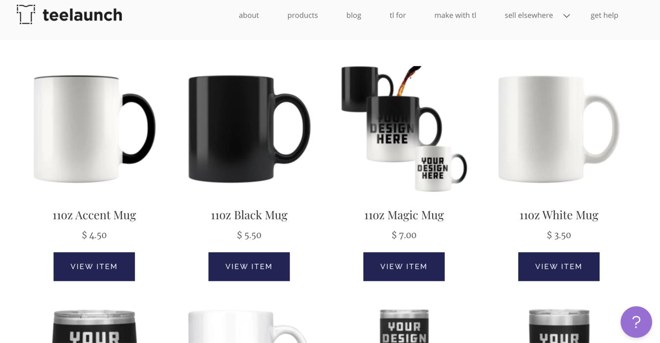 Página de produtos do Teeleaunch