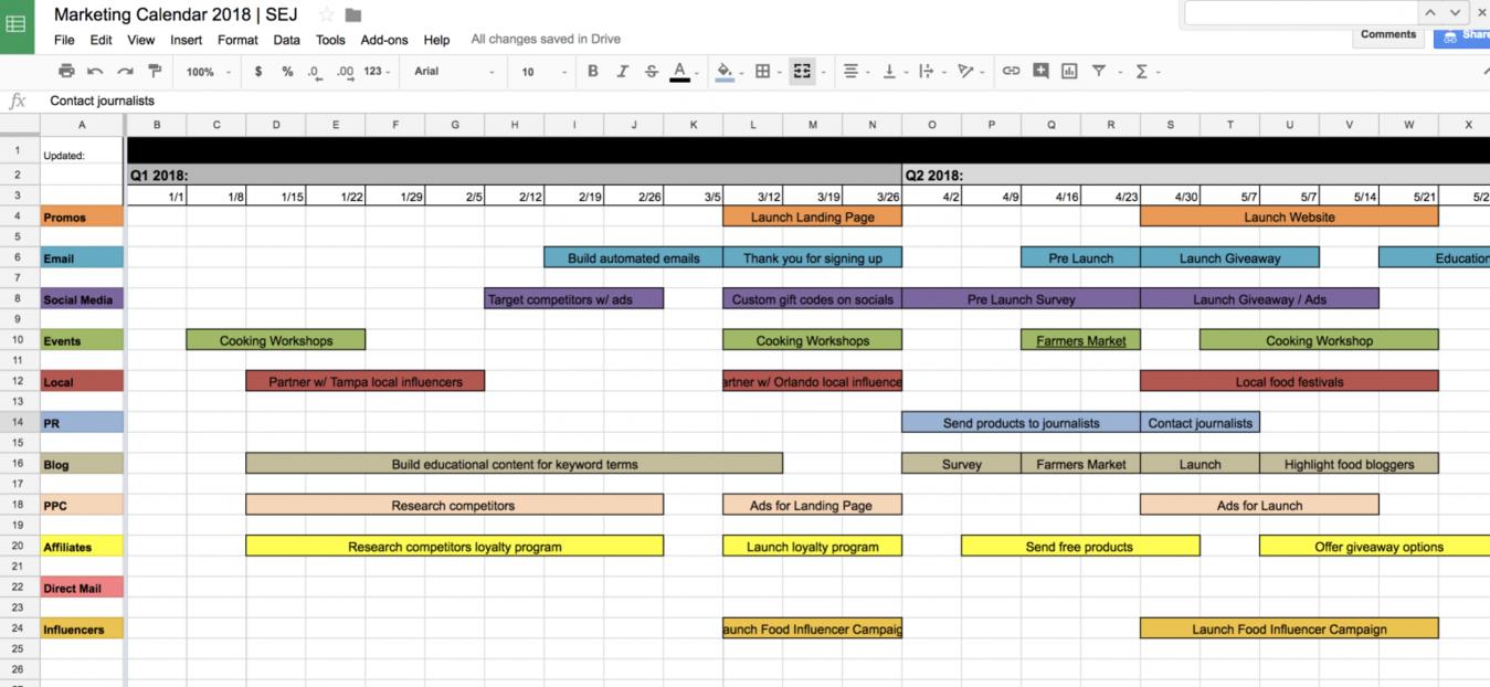 Sample Marketing Schedule Excel