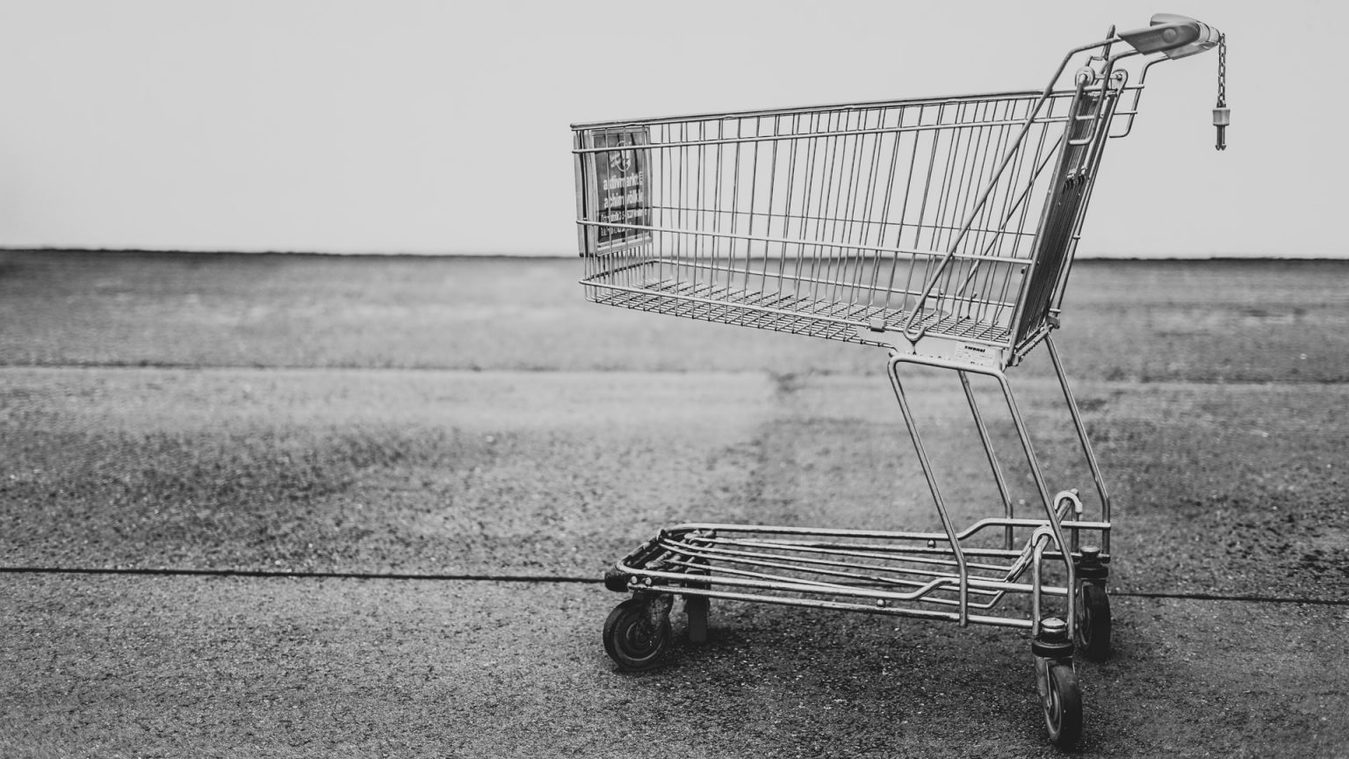 Shopping cart black and white