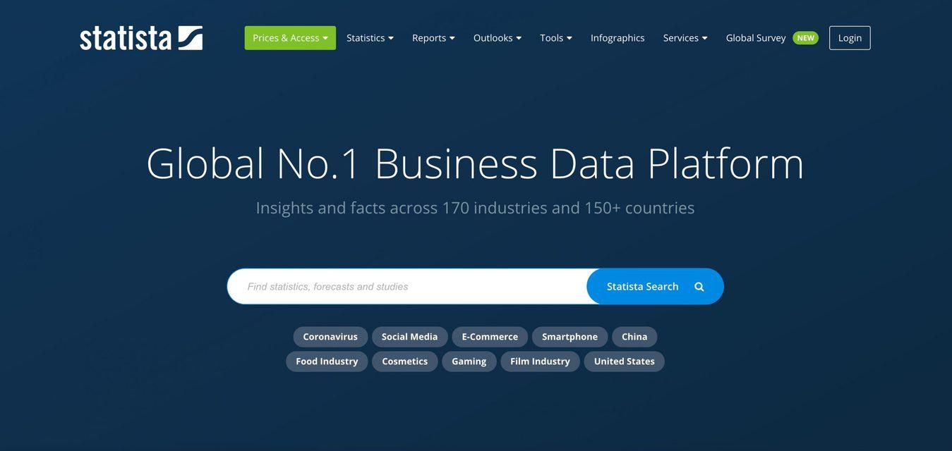 Statista Website Startpagina Screenshot