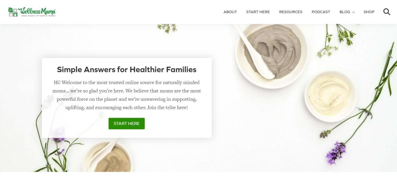 Sito web Wellness Mama per famiglie più sane