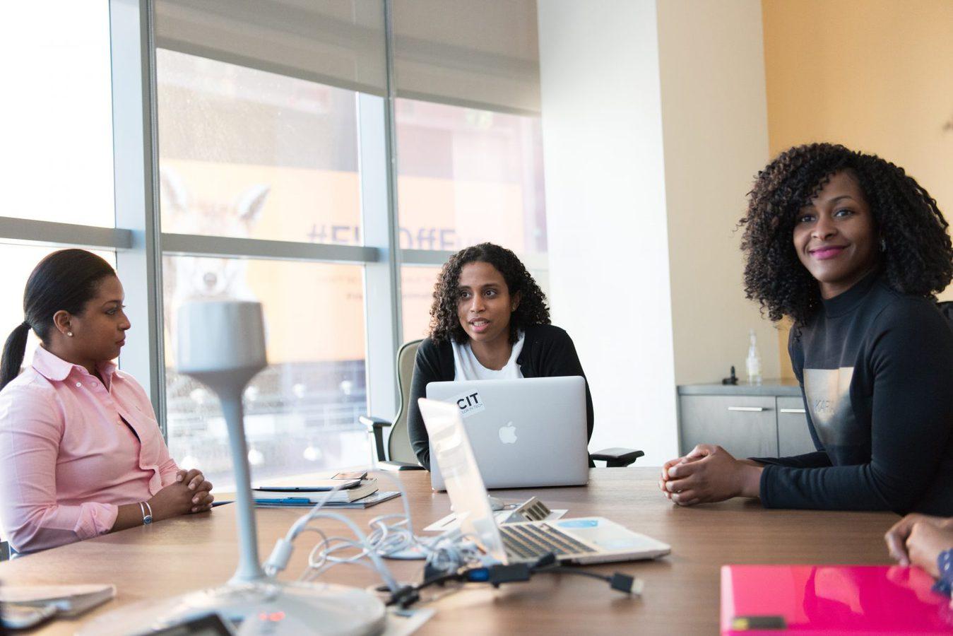 Women around a desk