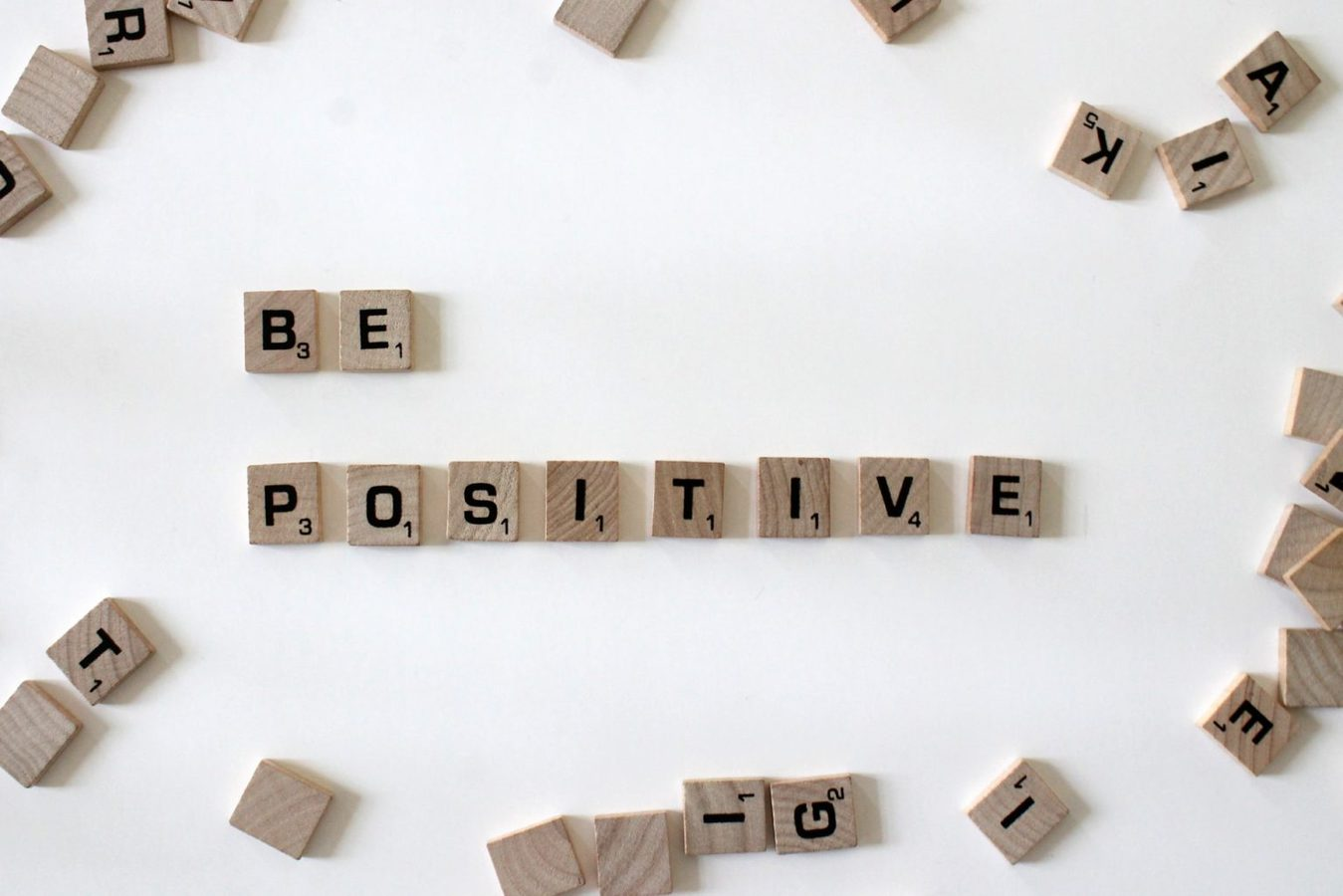 Wooden blocks spelling out be positive