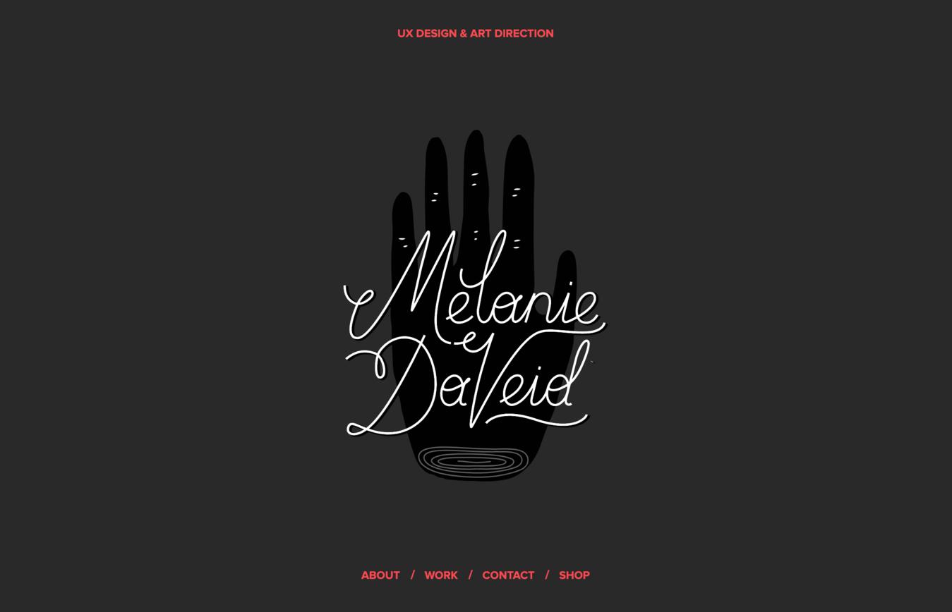 ví dụ về website portfolio Melanie DaVeid