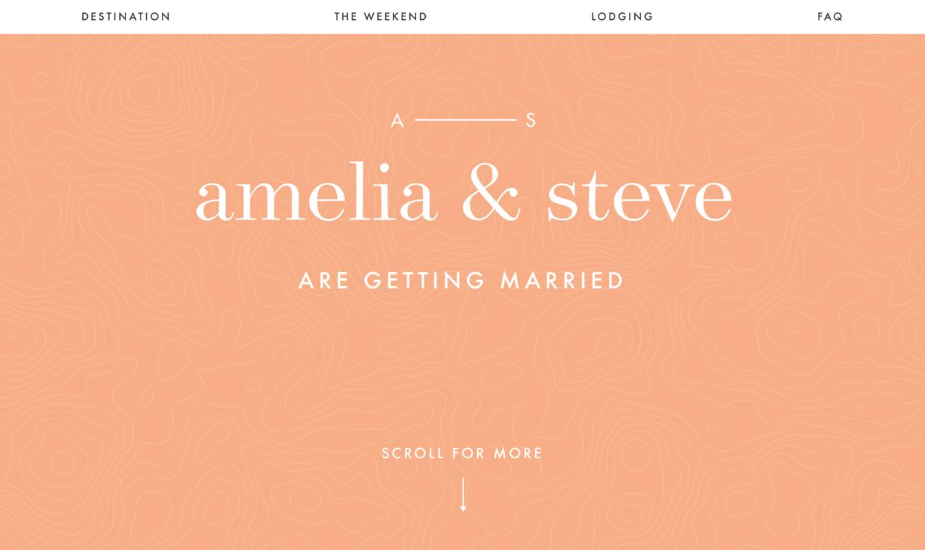 mẫu website wedding Amelia and Steve