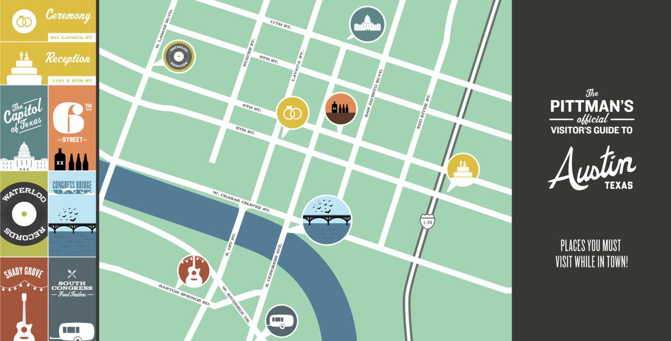 ví dụ về website wedding bản đồ của the pittman