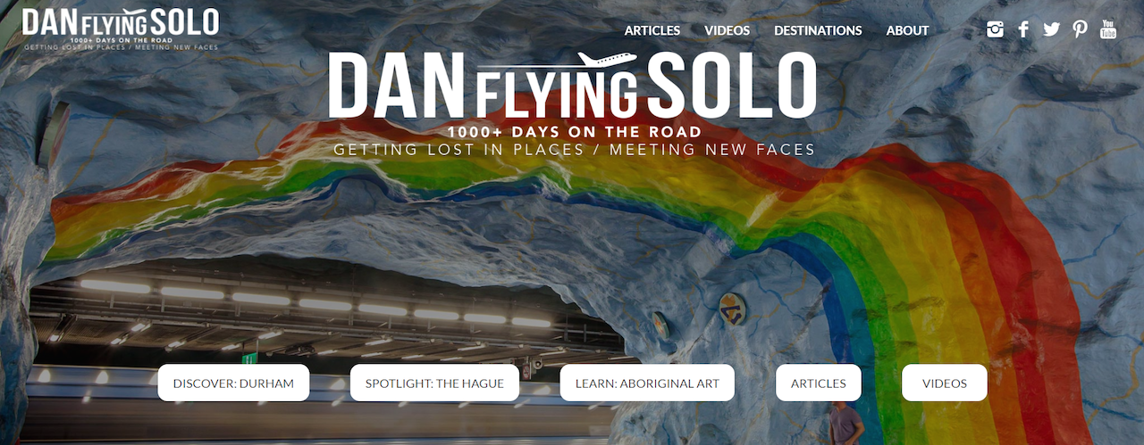 Landing page Dan Flying Solo